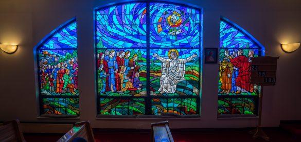 St. Joseph's Home chapel windows with vitrages