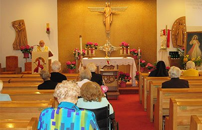 Residents of St. Joseph's are praying in a chapel