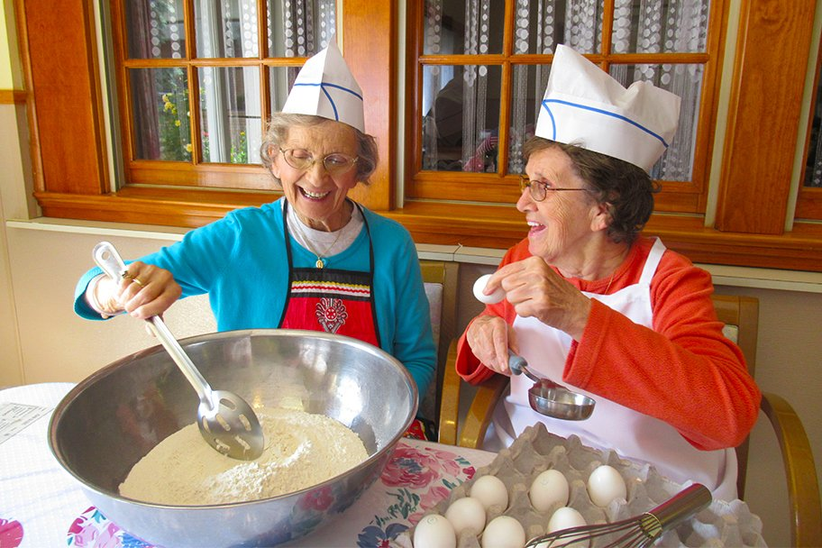 Residents of St. Joseph's Senior House are cooking