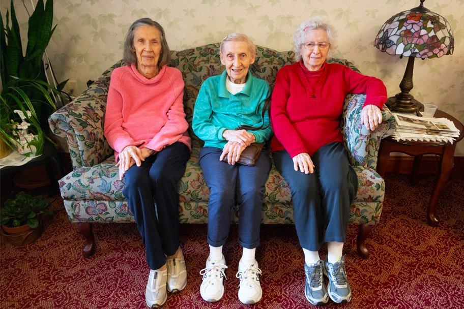 Residents of St. Joseph's Senior House in hall