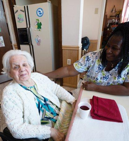 A resident with a nurse
