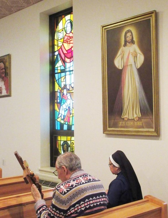 Edward praying in St. Joe's chapel